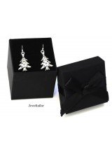 Handmade Silver Plated Christmas Tree Earrings With Black Gift Box Option ~ Ideal Stocking Fillers