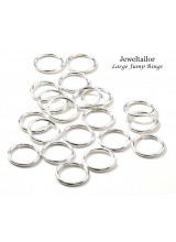 100 Shiny Silver Plated 14mm Jump Rings 1.5mm Thick  ~ Jewellery Making Essentials