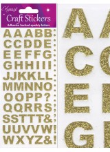 NEW! Eleganza Gold Sparkly Self Adhesive Alphabet Letter Stickers With Bold Font ~ A 79 Piece Set For Gift Packaging, Scrapbooking, Card Making & More