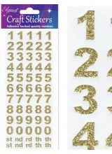 NEW! Eleganza Gold Sparkly Self Adhesive Number Stickers With Bold Font ~ A 60 Piece Set For Gift Packaging, Scrapbooking, Card Making & More