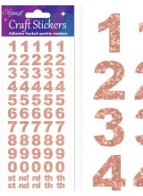 NEW! Eleganza Rose Gold Sparkly Self Adhesive Number Stickers With Bold Font ~ A 60 Piece Set For Gift Packaging, Scrapbooking, Card Making & More