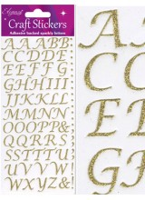 NEW! Eleganza Gold Sparkly Self Adhesive Alphabet Letter Stickers With Stylised Font ~ A 79 Piece Set For Gift Packaging, Scrapbooking, Card Making & More