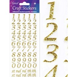NEW! Eleganza Gold Sparkly Self Adhesive Number Stickers With Stylised Font ~ A 60 Piece Set For Gift Packaging, Scrapbooking, Card Making & More