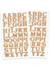 NEW! 49 Cork Self Adhesive Alphabet Letter Stickers 20mm  ~ Ideal For Bespoke Gift Packaging, Scrapbooking, Card Making & More