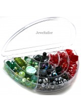 NEW! 1 Half Moon Clear Bead, Craft or DIY Storage Box 17cm ~ With 10 Compartments & Secure Snap Shut Lid