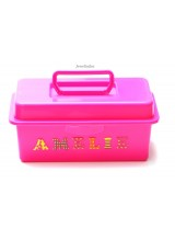 NEW! Children's Pink Personalised Craft Storage Box With Carry Handle & Removable Tray 27cm ~ Ideal For Arts & Crafts, Toys Or A Bespoke Gift