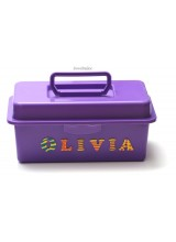 NEW! Children's Purple Personalised Craft Storage Box With Carry Handle & Removable Tray 27cm ~ Ideal For Arts & Crafts, Toys Or A Bespoke Gift