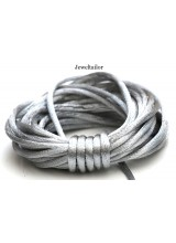 4-20 Metres Metallic Silver Rattail Silky Satin Cord 2mm ~ Ideal For Kumihimo, Macrame, Braiding & Shamballa Designs ~ Craft Essentials