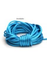 4-20 Metres Turquoise Blue Rattail Silky Satin Cord 2mm ~ Ideal For Kumihimo, Macrame, Braiding & Shamballa Designs ~ Craft Essentials