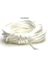4-20 Metres Bridal White Rattail Silky Satin Cord 2mm ~ Ideal For Kumihimo, Macrame, Braiding & Shamballa Designs ~ Craft Essentials