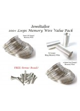100+ Loops Bracelet & Ring Memory Wire Value Pack + 10 FREE Bonus Metal Beads ~ Smart Value Collection