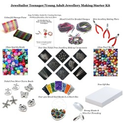 Teenager /Young Adult Jewellery Making Starter Kit~Make Your Own Jewellery In Minutes! With Free Gift Box, Bonus Cord & Clasps ~ A Perfect Gift Or Treat Plus NEW! Bead Board Option
